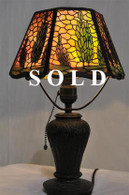 Vintage Handel Arborvitae Boudoir Lamp, 1920s Sunset Glass, Signed