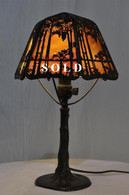 Wonderful Vintage  Handel Sunset Palm Boudoir Lamp, 1920s