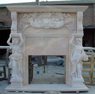 "LARGE HAND CARVED MARBLE FIREPLACE WITH OVER-MANTEL, WOMEN FIGURAL CARVINGS 82"" TALL"