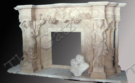 MASSIVE FIGURAL HAND CARVED MARBLE FIREPLACE MANTEL, INCLUDES WOMEN FIGURES, COLUMNS AND SWAGS Measures: 122.1 wide x 70.9 tall x 26.4 deep. Opening Measures: 32.7 wide x 37.1 tall
