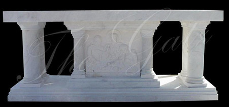 Hand Carved marble altar. We can do any custom design. Measures: 100 long x 42 tall x 36 deep.