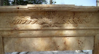 HAND CARVED MARBLE FIREPLACE MANTEL WITH ACANTHUS LEAVE CARVINGS