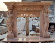 HAND CARVED SUNSET MARBLE FIREPLACE MANTEL WITH CARVED WOMEN COLUMN