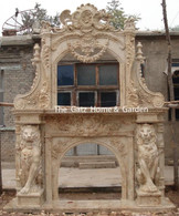 LARGE STATELY MARBLE FIREPLACE MANTEL AND OVERMANTEL, FEATURES TWO MAGNIFICENT HAND CARVED LIONS