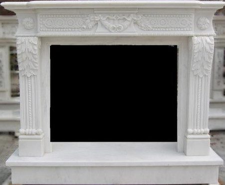 HAND CARVED WHITE MARBLE FIREPLACE MANTEL WITH ROSETTE CARVINGS
