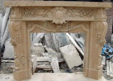Hand carved marble fireplace mantel. This piece is available in a variety of colors. See 10-07759 for white marble., H: 57.1 x W: 70.1 x D: 13.8 Opening: H: 33.9 x W: 41.  Before purchasing, please contact us for availability and shipping quote.
