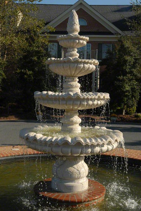 "LARGE FOUR TIER MARBLE FOUNTAIN WITH PINEAPPLE FINAL TOP, 92"" TALL"