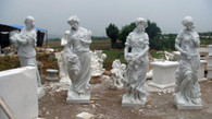 """LIFE SIZE SET OF FOUR SEASONS STATUES IN HAND CARVED WHITE MARBLE, 75"""" TALL"""