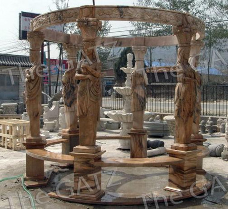 MARBLE GARDEN GAZEBO WITH 6 FIGURAL COLUMNS AND DOMED TOP Measures: 129 wide x 164 tall