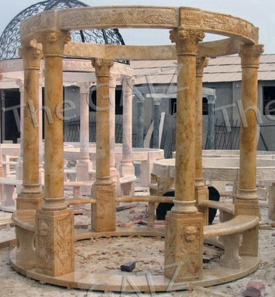 "HAND CARVED ROUND MARBLE GAZEBO WITH BENCH SEATING, 106"" TALL"