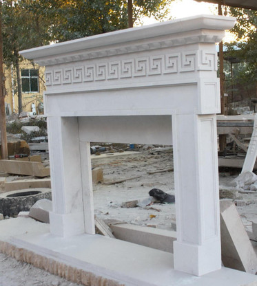Hand Carved White Marble Fireplace Mantel Greek Key