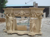 "LARGE UNIQUE CARVED MARBLE FIREPLACE MANTEL, MALE AND FEMALE COLUMNS, LARGE FLORAL SWAGS 109"" WIDE"