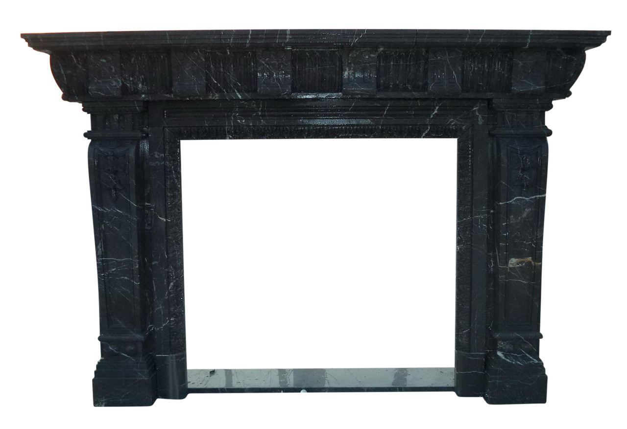 Hand Carved Greco Roman Black Marble Fireplace Mantel 4545 Thegatz