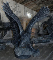 SOLID BLACK HAND CARVED MARBLE EAGLE STATUE, LARGE