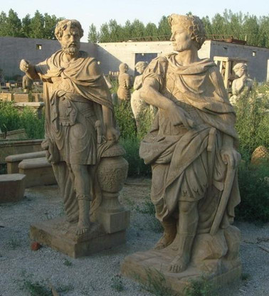 """LIFE SIZE HAND CARVED MARBLE ROMAN/GREEK STATUES, 71"""" TALL, CARVINGS ARE TOP QUALITY"""