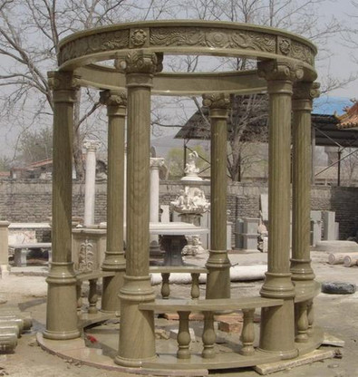 "LARGE ROUND MARBLE GAZEBO WITH DOMED TOP, FLUTED COLUMNS, BENCH SEATING 175"" TALL"