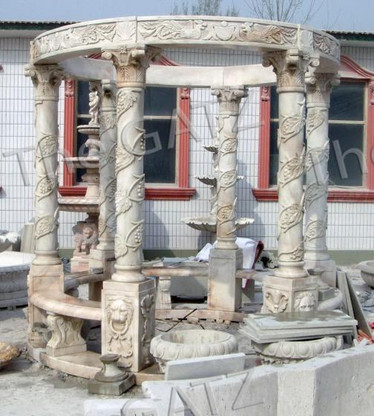 CLASSIC MARBLE GAZEBO WITH DOMED ROOF & BENCH SEATING INCLUDES GRAPE VINE CARVING, SUNSET PINK COLOR