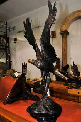 Bronze Eagle Statue Large Model Landing on Tree Marble Base