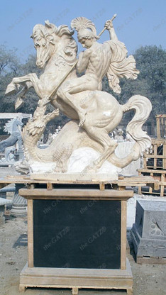 EXQUISITE DETAILED HAND CARVED MARBLE STATUE OF ST GEORGE SLAYING THE DRAGON