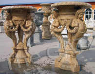 "PAIR OF FANTASTIC HAND CARVED MARBLE URNS OR PLANTER WITH CHERUBS AND FLORAL SWAGS 59"" TALL"