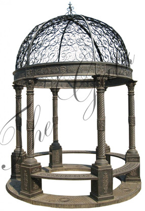 All cast iron gazebo, wonderful Victorian design with excellent detail throughout. Measures: 118 wide x 169 tall.