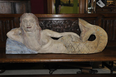 MERMAID, LARGE RECLINING, HAND CARVED, NAUTICAL, MYTHICAL DECOR