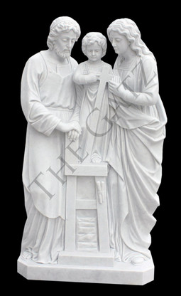RELIGIOUS MARBLE STATUE DEPICTING THE HOLY FAMILY Measures: 60 tall x 32 wide x 24 deep.