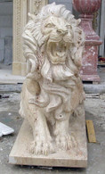 Pair of Hand Carved Crouching Marble Lions in White Travertine, 48 inches tall
