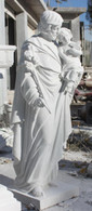 Hand carved marble St. Joseph baby Jesus statue.