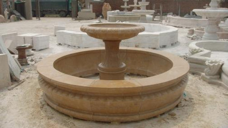 """LARGE MARBLE GARDEN FOUNTAIN WITH BASIN, 95"""" WIDE, SINGLE TIER SIMPLE DESIGN"""