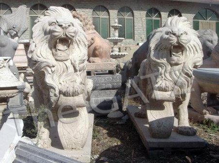 "Pair of Roaring Marble Estate Lions with Foot on Shield 47"" Tall"