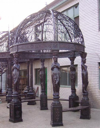 "CLASSIC 6 COLUMN CAST IRON GARDEN GAZEBO WITH WROUGHT IRON OPEN DOME, 165"" TALL"