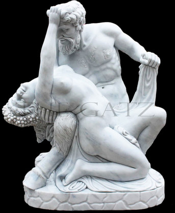 Satyr and Bacchante Marble Statue, Statuary White Marble Hand Carved