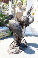 "BRONZE GARDEN STATUE WATER FOUNTAIN OF AN EGRET OR HERON 59"" TALL"