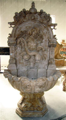 """ORNATE MARBLE WALL FOUNTAIN FEATURING FEMALE AND TWO FISH 98"""" TALL"""