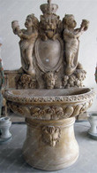 IMPRESSIVE CHERUB AND LION MARBLE WALL FOUNTAIN IN VERY CLASSIC DESIGN
