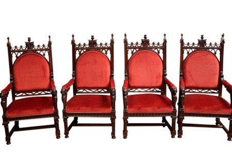 Grand Antique French Gothic Arm Chair Set, Set of Four, Best Quality