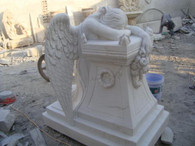 ELEGANT MARBLE GARDEN STATUE OF AN ANGEL KNEELING OVER AND WEEPING RELIGIOUS