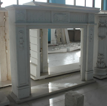 Hand carved Marble French Fireplace Mantel, white with colonial urn carvings