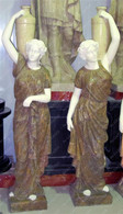 "PAIR OF HAND CARVED MULTI TONE MARBLE FEMALE STATUES, 70"" TALL"