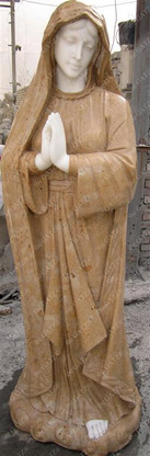 HAND CARVED TWO TONED MARBLE VIRGIN MARY STATUE, RELIGIOUS