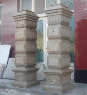 "PAIR OF LARGE DRIVEWAY ENTRY POST IN GRANITE, 78"" TALL"