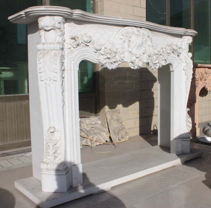 Hand Carved French Design Marble Fireplace Mantel with Floral pattern