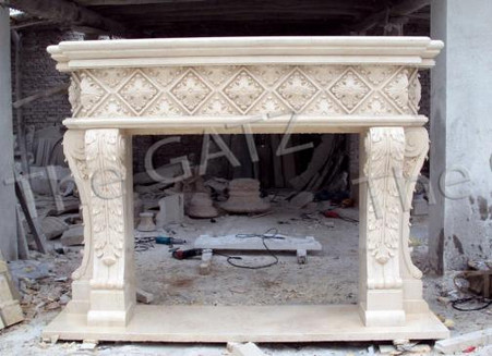 ARCHITECTURALLY DESIGNED MARBLE FIREPLACE MANTEL, HEAVY CARVINGS