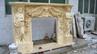 LOTS OF DETAILED CARVINGS ON THIS MARBLE FIREPLACE MANTEL FEATURING FEMALE STATUES AND FLORAL SWAGS Dimensions: 90.6 wide x 58.7 tall x 16.95 deep. Opening Measures: 38.4 wide x 38.6 tall.