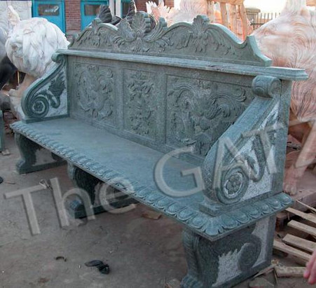LONG HAND CARVED GREEN MARBLE BENCH. FLORAL RELIEF CARVINGS AND SHELL DESIGN, 82.5 ""