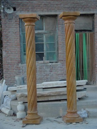 "PAIR OF TALL BARLEY TWIST MARBLE COLUMNS, 96"" TALL"
