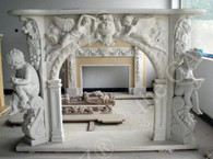 HEAVILY CARVED MARBLE FIREPLACE MANTEL CARVINGS INCLUDE LIFE SIZED CHILDREN READING BOOKS AND ANGELS FLYING