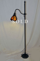 Antique Handel  Floor Lamp with Scenic Pine Tree Overlay Shade