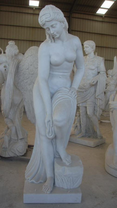 """LIFE SIZE MARBLE STATUE OF WOMAN BATHING, 66"""" TALL"""